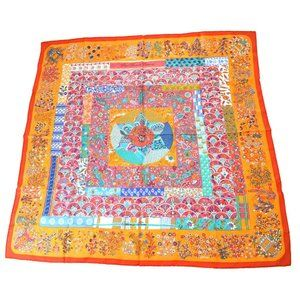 Authentic HERMES Logos XL Scarf Stall 100% Silk